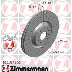 Zimmermann Sportbremsscheiben gelocht Audi S3 8V, TTS 8S VA