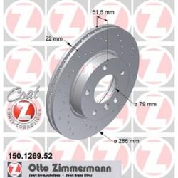 Zimmermann Sportbremsscheiben gelocht BMW 325i / 328i E36 VA