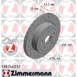 Zimmermann Sportbremsscheiben gelocht Subaru Impreza STI 05-16 HA DTC