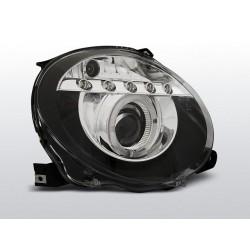 LED Angel Eye Scheinwerfer Schwarz Fiat 500 Abarth