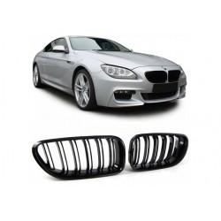 BMW 6er 11- Sportgrill Nieren Set Doppelspeiche Schwarz glanz