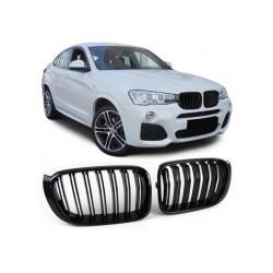 BMW X4 14-18 Sportgrill Nieren Set Doppelspeiche Schwarz glanz
