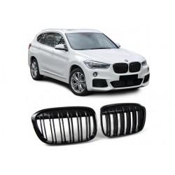 BMW X1 15-19 Sportgrill Nieren Set Doppelspeiche Schwarz glanz