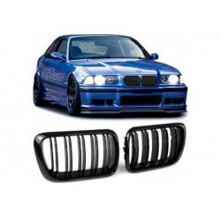 BMW 3er 1996-2000 Sportgrill Nieren Set Doppelspeiche Schwarz glanz