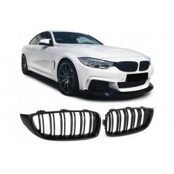 BMW 4er M4 2013- Sportgrill Nieren Set Doppelspeiche Schwarz matt