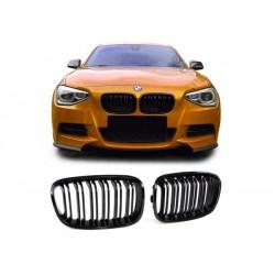 BMW 1er 2011-2015 Sportgrill Nieren Set Doppelspeiche Schwarz glanz