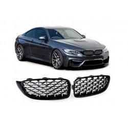 BMW 4er Coupé 2013- Sportgrill Nieren Set Exklusiv Schwarz glanz