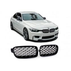 BMW 3er Limo 2011-2016 Sportgrill Nieren Set Exklusiv Schwarz glanz