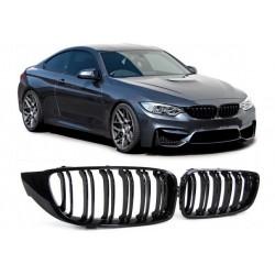 BMW 4er M4 2013- Sportgrill Nieren Set Doppelspeiche Schwarz glanz