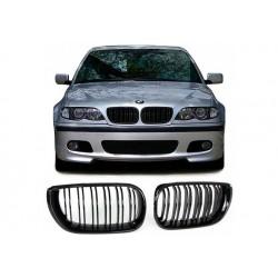BMW 3er 2001-2005 Schwarz glanz Doppelspeiche Sportgrill Nieren Set