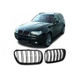 BMW X3 2006-2010 Schwarz glanz Doppelspeiche Sportgrill Nieren Set