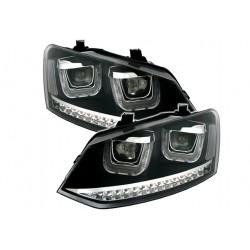 LED Angel Eyes Scheinwerfer Schwarz VW Polo 6C