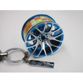 Schlüsselanhänger Felge Blau Stickerbomb